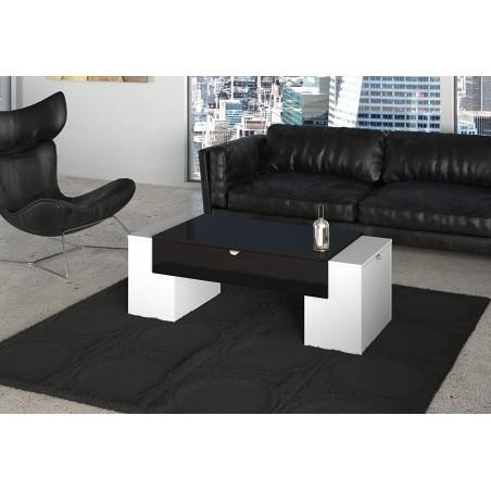 Table basse LUCK ultra design et modulable. Table basse noire et blanche avec une finition haute brillance