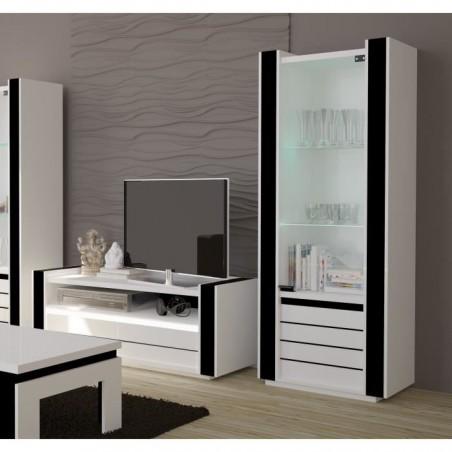 Ensemble pour votre salon LINA. Meuble tv hifi + vitrine petit modèle + LED. Meubles design haute brillance