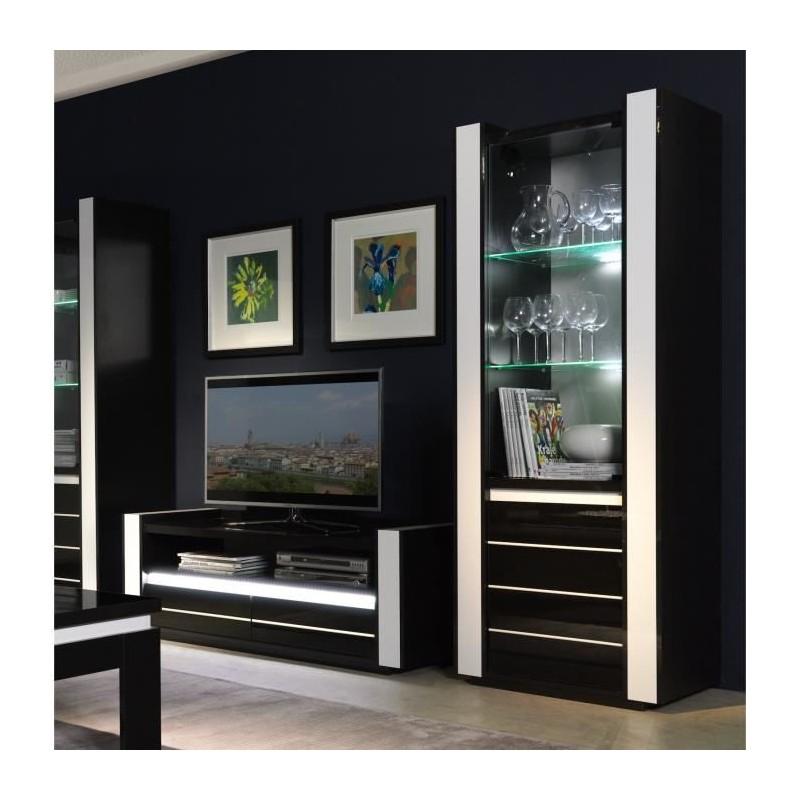 Meuble tv hifi + vitrine petit modèle + LED N&B
