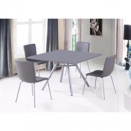 Ensemble table et 4 chaises TEXAS gris. Idéal pour votre salle à manger. Pieds inclinés type scandinave