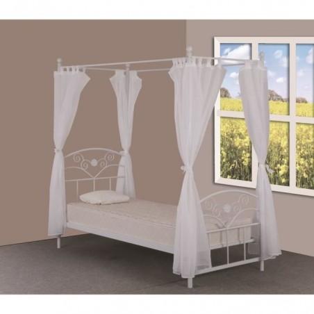 Lit deux places baldaquin 90 x 200 cm en métal Aurélie, coloris blanc et voilage blanc inclus.