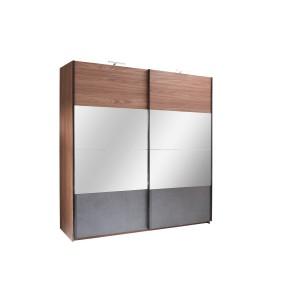 Armoire RENATO 2 portes coulissantes avec miroirs, garde robe pour chambre à coucher, dressing, penderie couleur walnut et grise