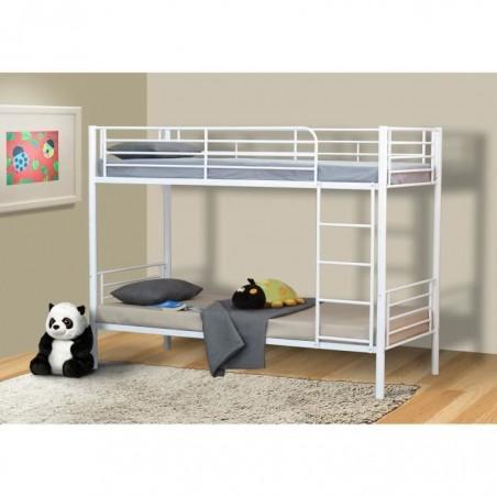 Lit 90x200 superposé ou côte à côte collection Lucie, coloris  Blanc