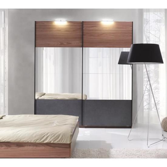 Armoire garde robe armoire renato 2 portes coulissantes - Armoire chambre avec miroir ...