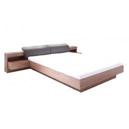 RENATO Lit + sommier + tables de chevet intégrées avec LED, couchage 160x200 cm. Coloris walnut.