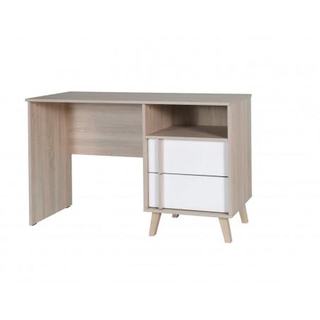 Bureau deux tiroirs et un casier, collection MALMO, coloris bois Sonoma et blanc. Meuble de type SCANDINAVE.