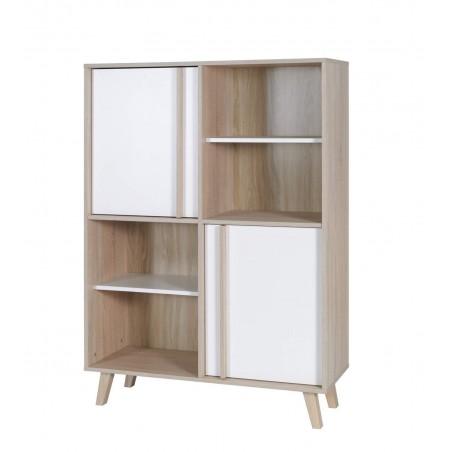 Bibliothèque et rangements de la collection MALMO. Meuble design type SCANDINAVE.