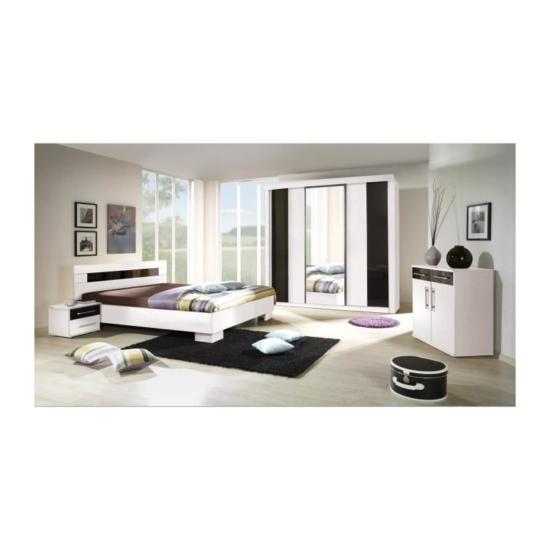 Ensemble pour chambre coucher dublin lit 140x190 cm commode - Ensemble chambre a coucher adulte ...