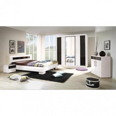 Ensemble pour chambre à coucher DUBLIN. Lit 140x190 cm + commode + chevets. Set moderne et design.