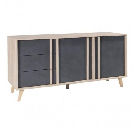 Buffet moyen modèle MALMO gris. Meuble design type SCANDINAVE. Effet ultra tendance pour votre salon.