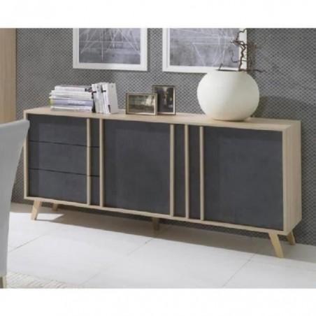 Buffet moyen modèle MALMO gris. Meuble design type SCANDINAVE. Effet ultra tendance pour votre salon
