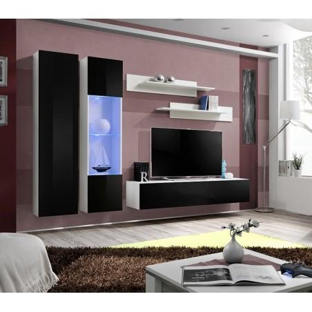 Ensemble meuble TV mural FLY-A noir et blanc avec LED