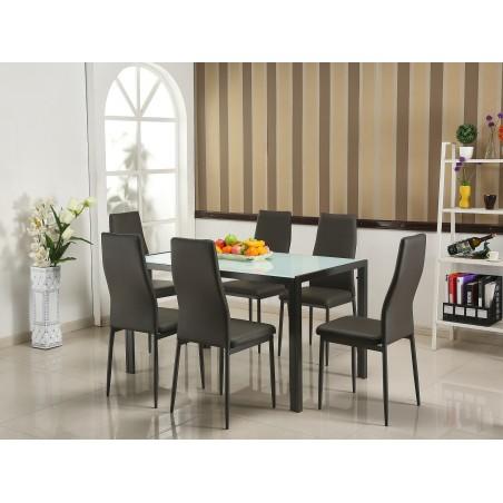 Ensemble table et 6 chaises de la collection ARRAS. Set design et moderne.