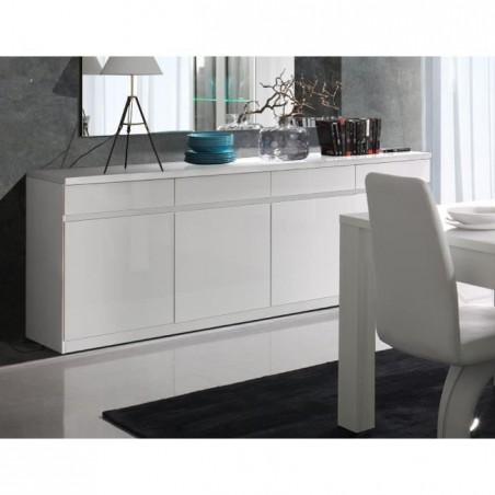 Buffet, bahut, enfilade FABIO. 4 portes et 4 tiroirs. Coloris blanc brillant high gloss. Meuble design et contemporain