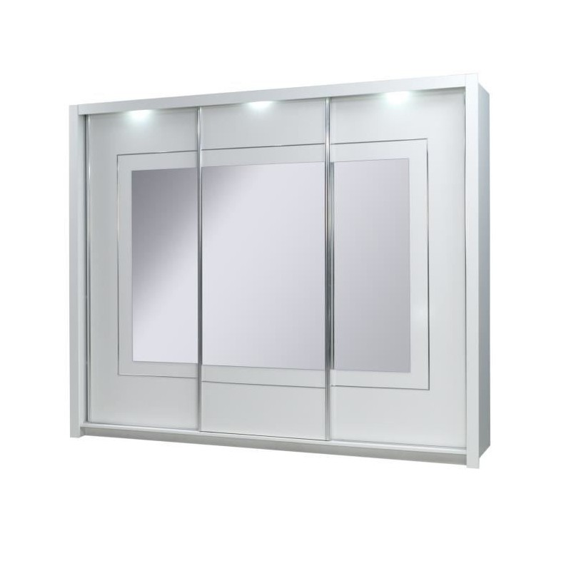 Armoire trois portes coulissantes PANAREA. Miroirs inclus. Eclairage LED intégré. Finition chrome. Mobilier design