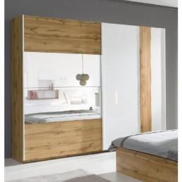 Armoire, garde robe WOOD deux portes coulissantes 250 cm. Coloris chêne et blanc laqué