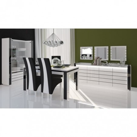 Salle à manger complète LINA blanche et noire. Buffet + Vaisselier + Table 180 cm + 6 x chaises + Miroirs