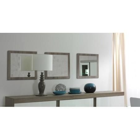 Lot de 3 miroirs STEFANO. Cadre coloris sonoma. Accessoire idéal pour votre habitation.