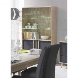 Salle à manger complète MALMO. Buffet, bahut + vaisselier + 3 x miroirs + Table 160 cm