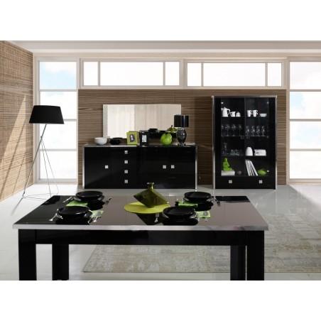 Salle à manger complète LYON. Grand Buffet, bahut + vitrine, vaisselier + Table 160 cm. Coloris noir brillant finition chrome.