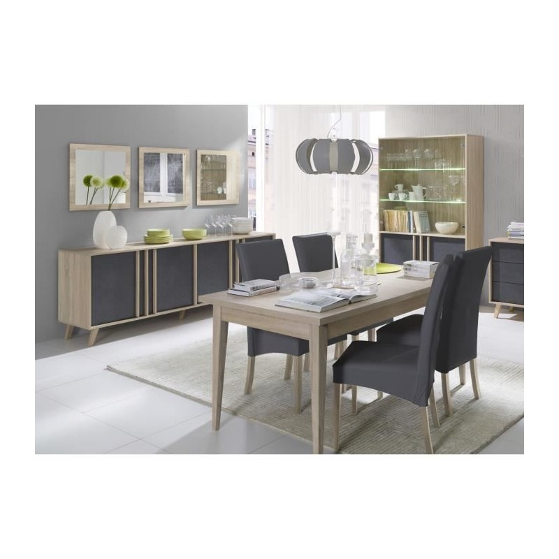 salle manger compl te malmo buffet bahut vaisselier 3 x miroirs table 160 cm coloris. Black Bedroom Furniture Sets. Home Design Ideas