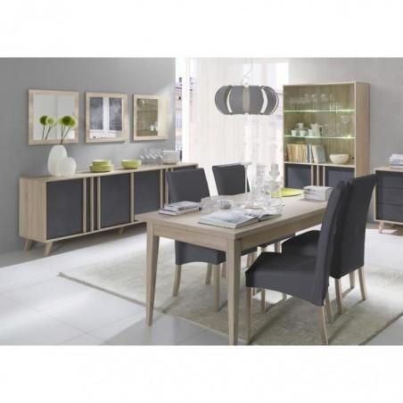 Salle à manger complète MALMO. Buffet + vaisselier + 3 x miroirs + Table 160 cm. Coloris sonoma et gris béton