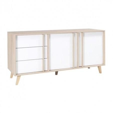 Buffet moyen modèle MALMO blanc. Meuble design type SCANDINAVE. Effet ultra tendance pour votre salon.