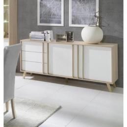 Buffet, enfilade, bahut moyen modèle MALMO blanc. Meuble design type SCANDINAVE. Effet ultra tendance pour votre salon