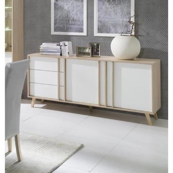 Salon buffet enfilade bahut moyen mod le malmo blanc meuble desi - Buffet de salon ...