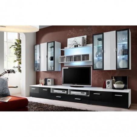 Ensemble meuble salon Quadro blanc et noir de haute brillance avec LED