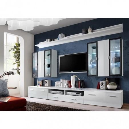 Ensemble meuble salon Iceland blanc de haute brillance avec LED