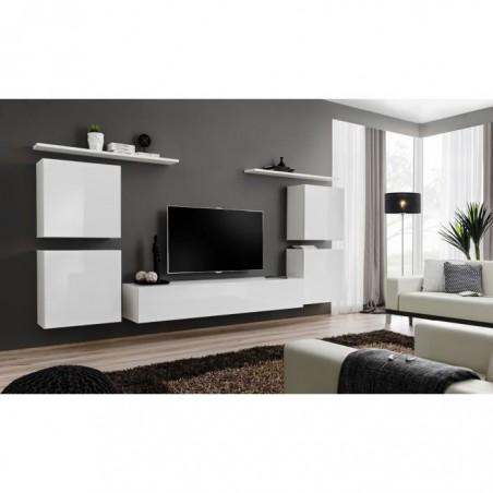 Ensemble meuble salon SWITCH IV design, coloris blanc brillant.
