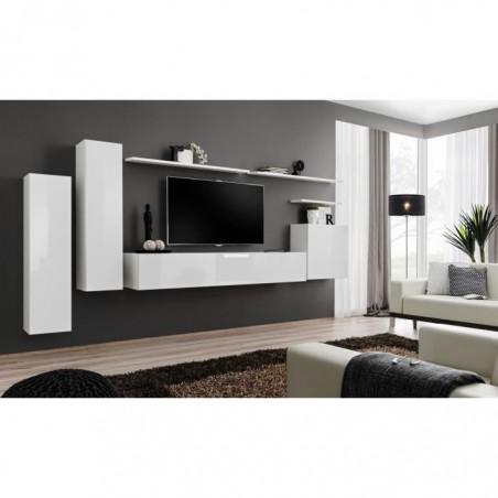 Ensemble meuble salon SWITCH I design, coloris blanc brillant.