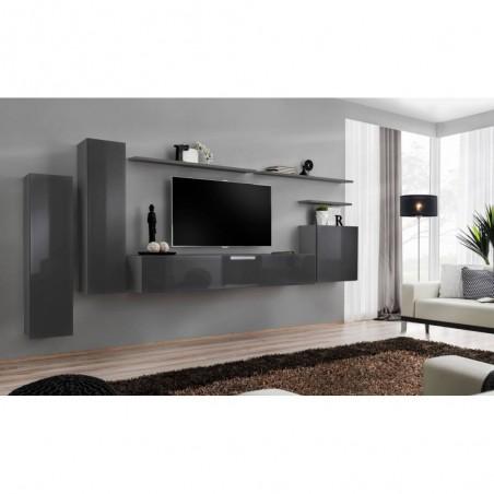 Ensemble meuble salon SWITCH I design, coloris gris brillant.
