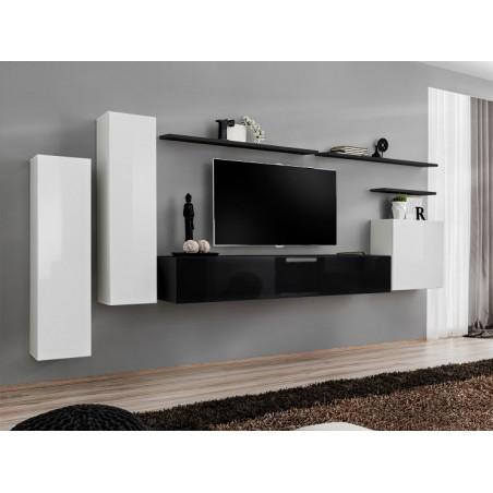 Ensemble meuble salon SWITCH I design, coloris blanc et noir brillant.