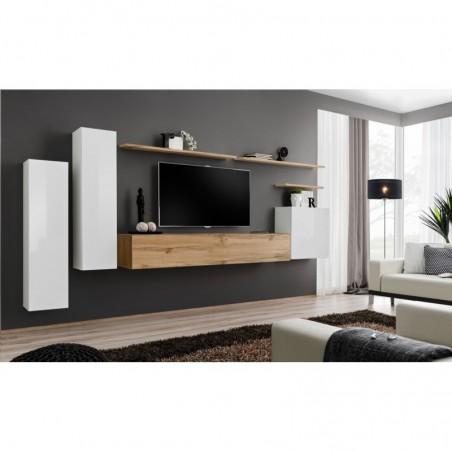 Ensemble meuble salon SWITCH I design, coloris blanc brillant et chêne Wotan.