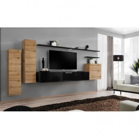 Ensemble meuble salon SWITCH I design, coloris chêne Wotan et noir brillant. .