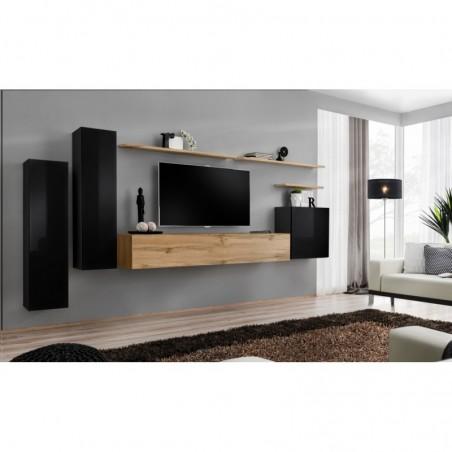 Ensemble meuble salon SWITCH I design, coloris noir brillant et chêne Wotan.