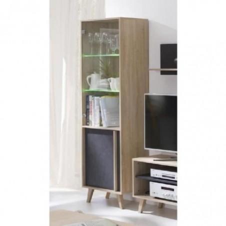 Vitrine, bibliothèque, vaisselier MALMO petit modèle + LED. Meuble type SCANDINAVE idéal pour votre salle à manger