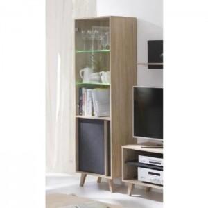 Vitrine, bibliothèque, vaisselier MALMO petit modèle + LED