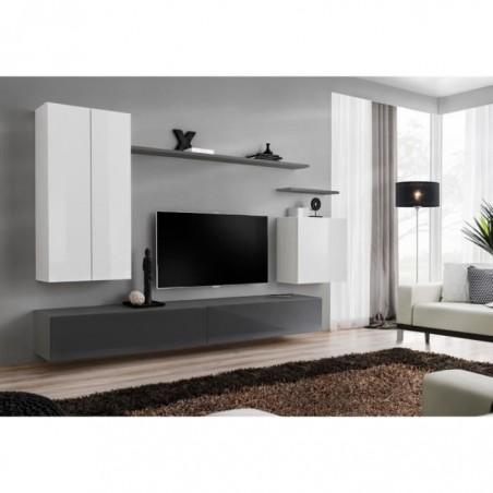 Ensemble meuble salon SWITCH II design, coloris blanc et gris brillant.