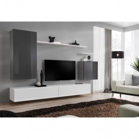 Ensemble meuble salon SWITCH II design, coloris gris et blanc brillant.