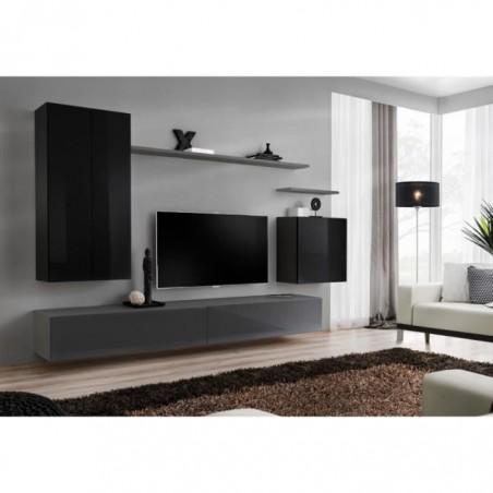 Ensemble meuble salon SWITCH II design, coloris noir et gris brillant.