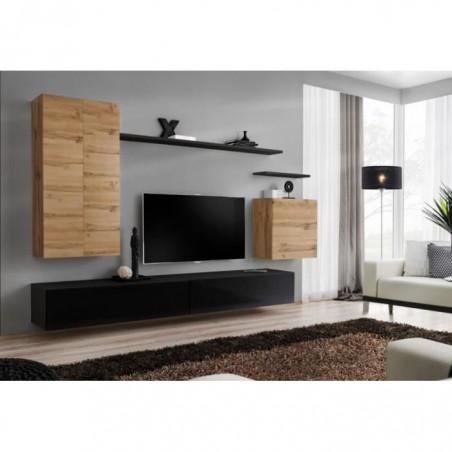 Ensemble meuble salon SWITCH II design, coloris noir brillant et chêne Wotan.