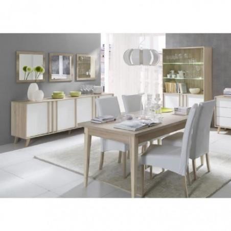 Salle à manger complète MALMO. Buffet + vaisselier + 3 x miroirs + Table 160 cm. Coloris sonoma et blanc mat