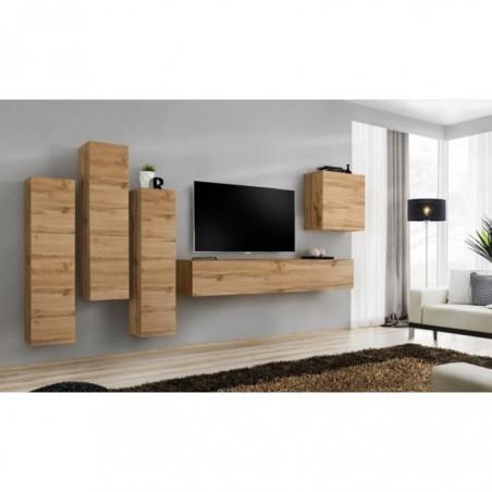 Ensemble meuble salon SWITCH III design, coloris chêne Wotan.