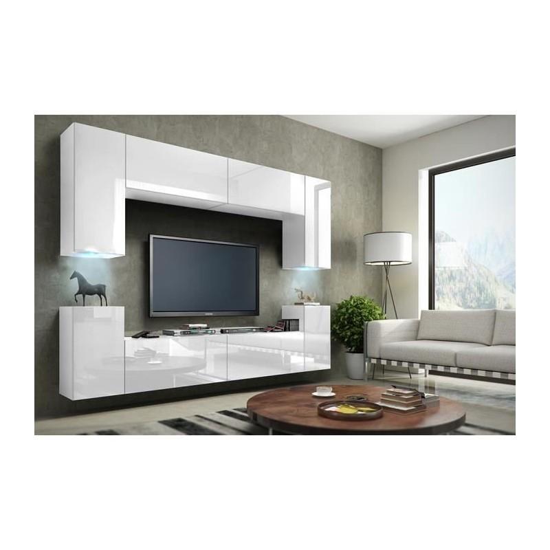 meuble de salon meuble tv complet suspendu concept corps blanc ma. Black Bedroom Furniture Sets. Home Design Ideas