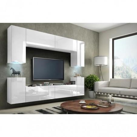 Meuble de salon, meuble TV complet suspendu CONCEPT. corps blanc mat, façades laquées, brillantes + LED.