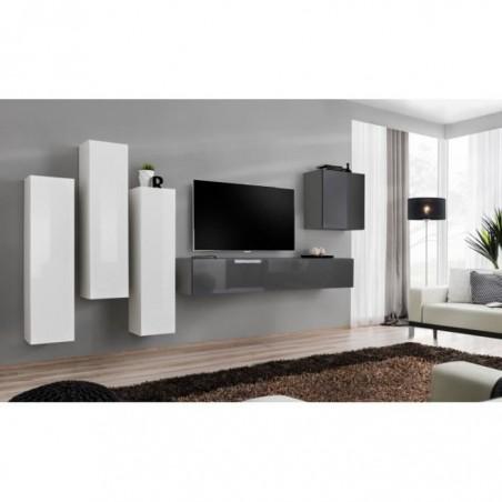 Ensemble meuble salon SWITCH III design, coloris gris et blanc brillant.