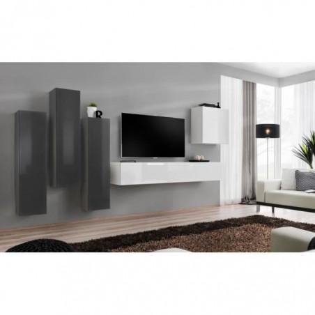 Ensemble meuble salon SWITCH III design, coloris blanc et gris brillant.